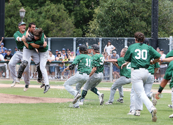 De La Salle charges the mound to celebrate its 2016 North Coast Section Div. I title. The East Bay Athletic League has won five of the seven Div. I title since 2010. The EBAL also claimed the 2016 Div II title thank to Livermore. Dennis Lee photo.