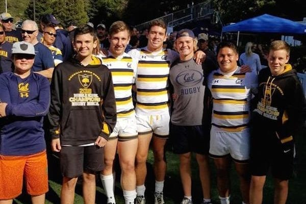 Danville Oaks rugby players - Jake Ryan (MS), James Carney (MS), Jason Severance ('18), Luke Freeman ('18), Cal Liebowitz (Varsity), Keanu Andrade ('16), and Tucker Barth (MS).