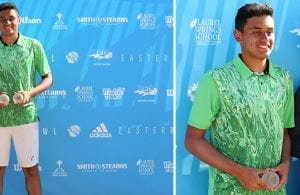 USTA National Championships – Easter Bowl – Indian Wells, CA. Picture on the left: Aryan Chaudary. Picture on the right L-R: Aryan Chaudary.
