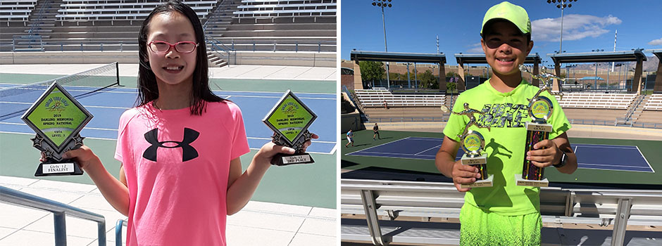 USTA National Level 3: Darling Memorial Spring National – Las Vegas, NV. Picture on the left: Girls' 12 singles 3rd place – Penelope Wong. Picture on the right: Boys' 12 doubles 4th place – Luke Stratakos.