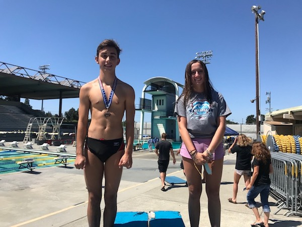Daniel Zabronsky and Alexia Dunlavey with their awards for the day at Far Westerns in Santa Clara, Sat, 8/10.