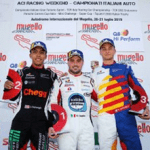 Jaden Conwright racing Porsche GT3 Cup in Italy with his podium mates